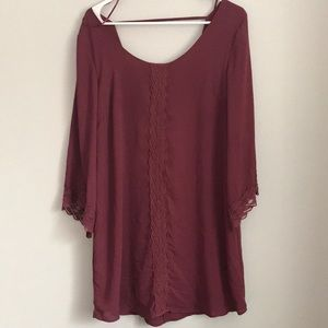 Astr Dresses - ASTR Lace trim dress 3/4 sleeve